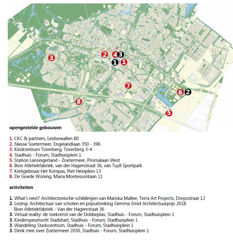 Kaart met programma Dag van de Architectuur Zoetermeer