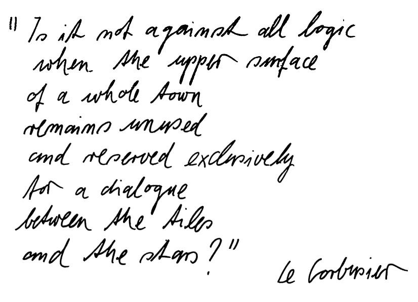 tekst over daken van Le Corbusier