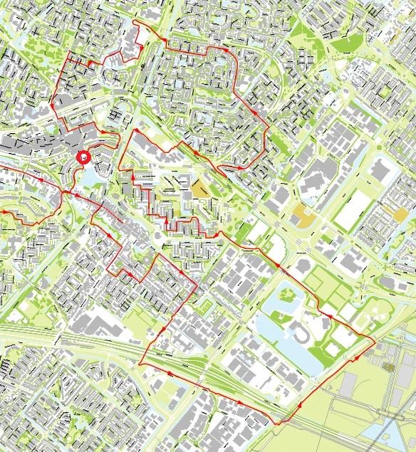 kaart met fietsroute op Dag van de Architectuur