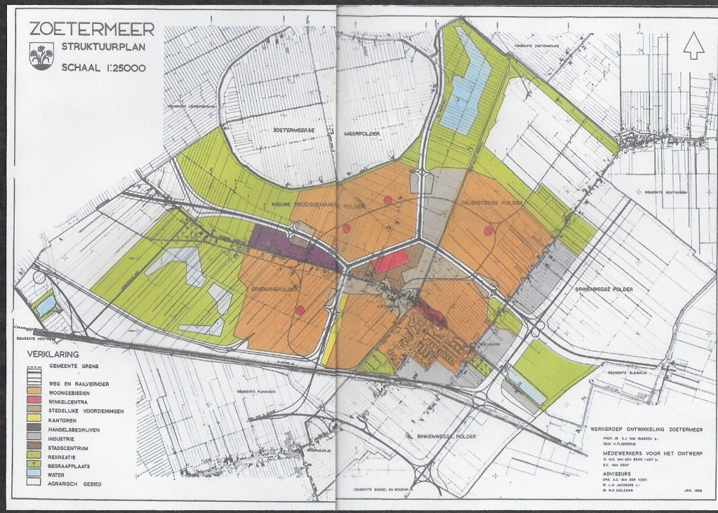 kaart met structuurplan Zoetermeer