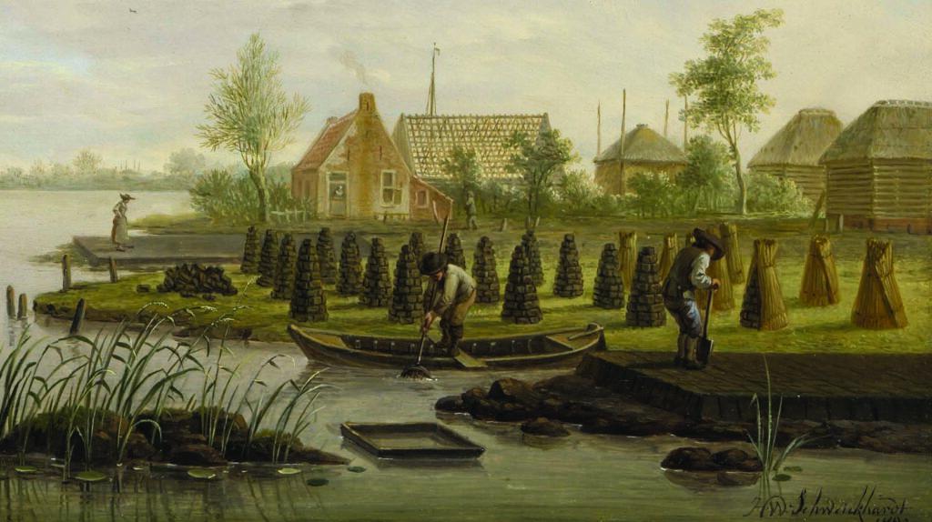 baggeren en drogen van turf in Zoetermeer 18e eeuw